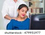 attractive brunette office... | Shutterstock . vector #479951977