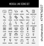 set of medical icons in modern...