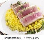 Small photo of Ahi Tuna Steak With Rice and herbs sauce