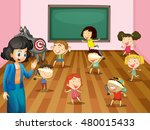 students playing blind folded... | Shutterstock .eps vector #480015433