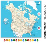 usa and canada large detailed... | Shutterstock .eps vector #480023047