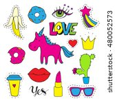 set  fashion patch badges. hand ... | Shutterstock .eps vector #480052573