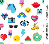 pop art fashion chic seamless... | Shutterstock .eps vector #480067633