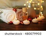 christmas spa set on wooden... | Shutterstock . vector #480079903