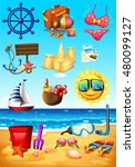 ocean scene and beach objects... | Shutterstock .eps vector #480099127