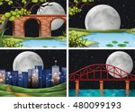 four scenes of city on fullmoon ... | Shutterstock .eps vector #480099193