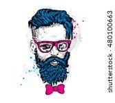 stylish man with a beard. man... | Shutterstock .eps vector #480100663