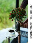 Small photo of relaxing with hot black americano coffee Serve in white cup in garden in the afternoon