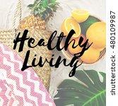 summer break lifestyle oranges... | Shutterstock . vector #480109987