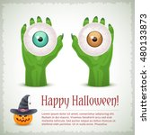 happy halloween card with two... | Shutterstock .eps vector #480133873