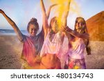 teenagers playing with colored... | Shutterstock . vector #480134743