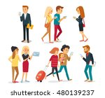 street style people with gadgets | Shutterstock .eps vector #480139237