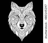 vector hand drawn doodle wolf... | Shutterstock .eps vector #480145297