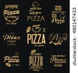 typographic pizza golden luxury ... | Shutterstock .eps vector #480147433
