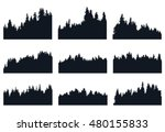 set of forest silhouetts | Shutterstock .eps vector #480155833