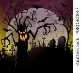 halloween background with a... | Shutterstock .eps vector #480162847