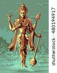 indian god vishnu giving... | Shutterstock .eps vector #480194917