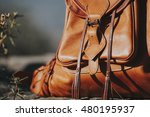 leather backpack detail. | Shutterstock . vector #480195937