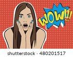 pop art surprised brunette... | Shutterstock . vector #480201517