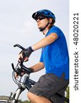 young bicyclist in a blue... | Shutterstock . vector #48020221