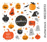 vector set of halloween design... | Shutterstock .eps vector #480228553