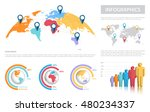 map of the world mapped on a... | Shutterstock .eps vector #480234337