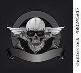 human skull and wings for logo... | Shutterstock .eps vector #480245617
