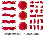 ribbon vector icon red color on ... | Shutterstock .eps vector #480269383