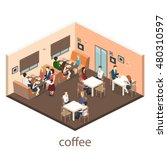 isometric interior of coffee... | Shutterstock .eps vector #480310597