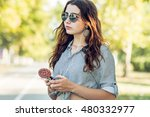 girl holding a lollipop and... | Shutterstock . vector #480332977