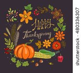 thanksgiving banner with... | Shutterstock .eps vector #480336307