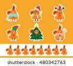set of vector cartoon stickers. ... | Shutterstock .eps vector #480342763