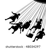 silhouette of children on a... | Shutterstock . vector #48034297