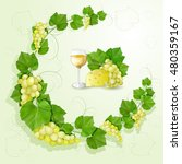 grapes with leaves background | Shutterstock . vector #480359167
