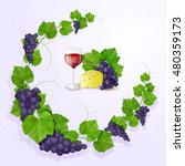 grapes with leaves background | Shutterstock . vector #480359173