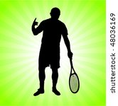 tennis player on green... | Shutterstock .eps vector #48036169