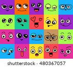 emotions. set of doodle faces.... | Shutterstock .eps vector #480367057