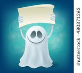 smile ghost with banner.... | Shutterstock .eps vector #480371263
