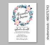 romantic pink peony bouquet... | Shutterstock .eps vector #480371743