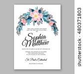 romantic pink peony bouquet... | Shutterstock .eps vector #480371803