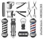 set of vintage barber shop... | Shutterstock .eps vector #480381283
