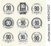 set of vintage anniversary... | Shutterstock .eps vector #480429337