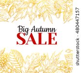 autumn sale vector gold banner... | Shutterstock .eps vector #480447157