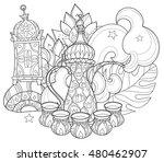 arabic coffee maker dalla with...   Shutterstock .eps vector #480462907