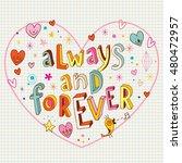 always and forever heart shaped ...   Shutterstock .eps vector #480472957
