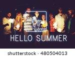 summer beach sea coast graphics ... | Shutterstock . vector #480504013