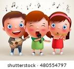vector character kids singing... | Shutterstock .eps vector #480554797