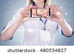 double exposure  doctor holding ... | Shutterstock . vector #480554827