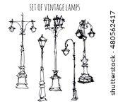 set of streetlights. sketch.... | Shutterstock .eps vector #480562417