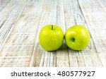 fresh apple on wooden vintage... | Shutterstock . vector #480577927